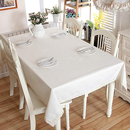 Enova Home Natural Elegant Rectangular Solid Thicken Cotton and Linen Tablecloth Dust Proof Table Cover for Kitchen Dinning Tabletop Decoration (Pure White, 54