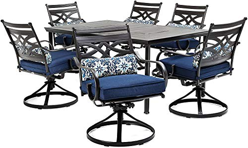 - Patio Dining Set. 7 Piece Modern Outdoor Porch, Deck, Lawn, Pool, Garden, Balcony Diner, Conversation, Seating, Bistro, Chat Steel Furniture Kit. Outside Square Table, Chairs, Cushions (Blue)