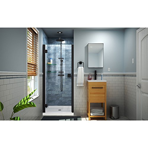 DreamLine SHDR-5334660-09 Lumen Shower Door, Satin Black (Semi Hinged Frameless Door)
