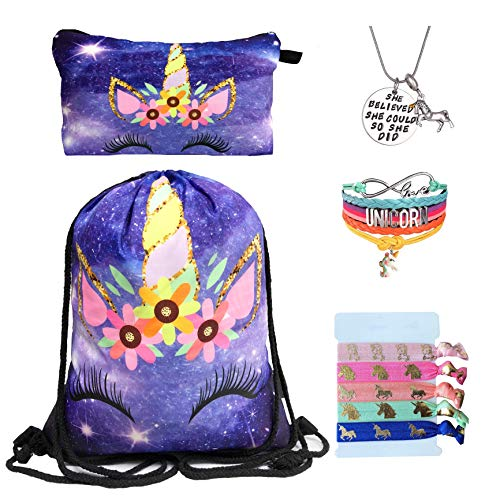 Unicorn Gifts for Girls - Unicorn Drawstring Backpack/Makeup