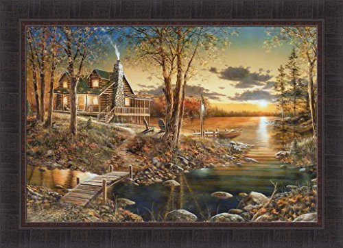 Comforts Of Home by Jim Hansel 24x33 Log Cabin Home Lake Boat Sunset Framed Art Print Wall Décor Picture