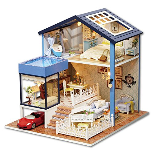 Cuteroom Dollhouse Miniature DIY Dolls House Kit with Furniture+Cover+Music Box+Red Car Handmade Gift Toy Seattle(1:24 scale)