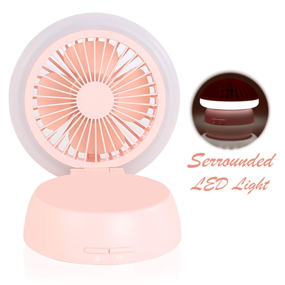 Desk Fan with 3 Adjustable Levels of Light and Wind Mode, Portable Small Quiet Cooling Fan for Personal Office Bedroom Kitchen Baby s Room Pink