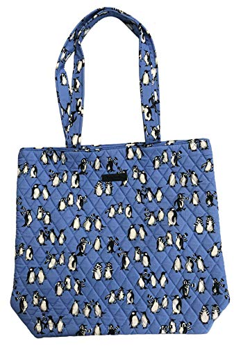 Vera Bradley Tote with Solid Color Interior (Updated Version) (Playful Penguins Blue)