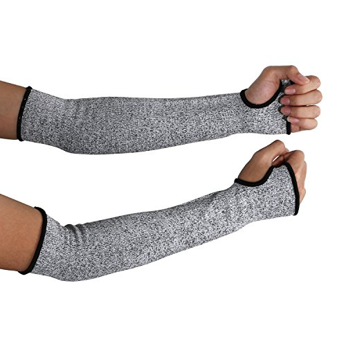 Cut Resistant Sleeves 16-Inch Cut Resistant Knit Sleeves - Level 5 Protection, Slash Resistant Sleeves with Thumb Slot Helps Prevent Scrapes, Scratches Skin Irritations UV-Protection, 1 Pair