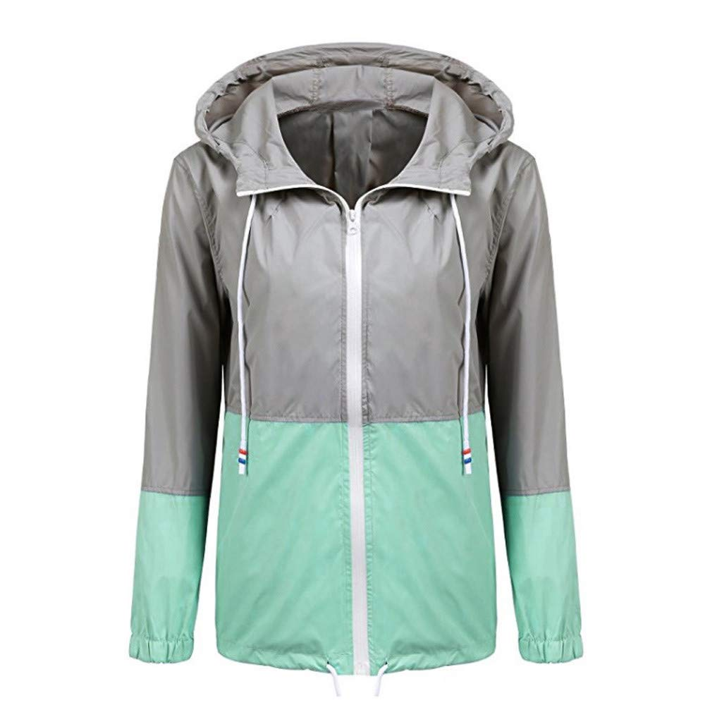 Farjing Women Hoodies Sweatshirt Long Sleeve Patchwork Thin Skinsuits Hooded Zipper Pockets Sport Coat(M,Green