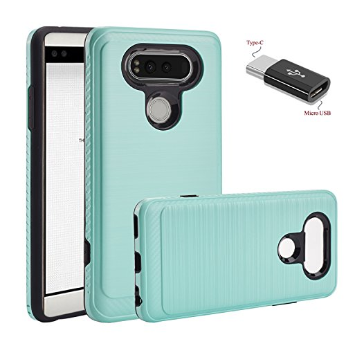 LG V20 Case,LG VS995 Case,LG H990 Case,LG LS997 Case,LG H910 Case With Micro USB to Type c Adapter,Wtiaw [TPU+PC material] [Brushed Metal Texture] Hybrid Dual Layer Defender Case for LG - Power Without Spectacles
