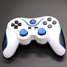 HUELE Wireless Bluetooth Six Axis Dualshock Game Controller for PlayStation 3/PS 3 - White Blue Black