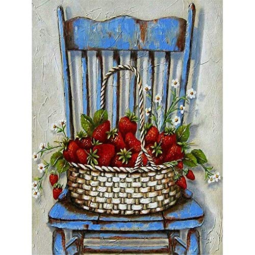 5D Diamond Painting Full Drill, DIY Paint with Diamonds Wall Decor Diamond Painting Kit - Strawberry Basket Chair