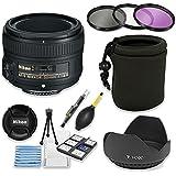 Nikon AF-S NIKKOR 50mm f/1.8G Lens Bundle with Professional HD Filters, Lens Hood, Lens Case, 5 Piece Lens Starter Kit.
