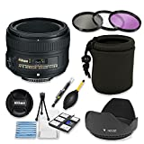 Nikon AF-S NIKKOR 50mm f/1.8G Lens Bundle with Professional HD Filters, Lens Hood, Lens Case, 5 Piece Lens Starter Kit..