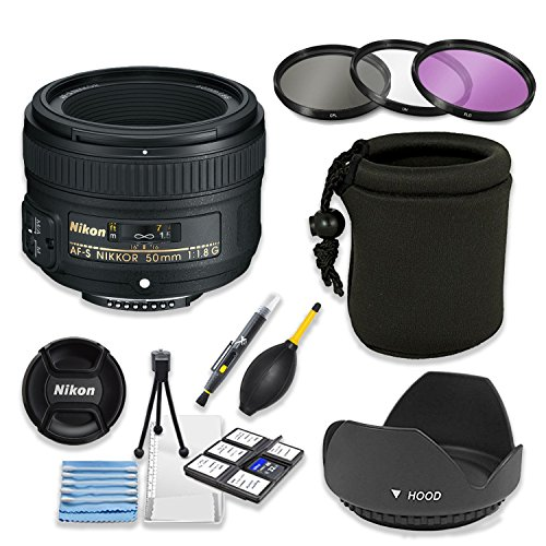 mm f/1.8G Lens Bundle with Professional HD Filters, Lens Hood, Lens Case, 5 Piece Lens Starter Kit. ()