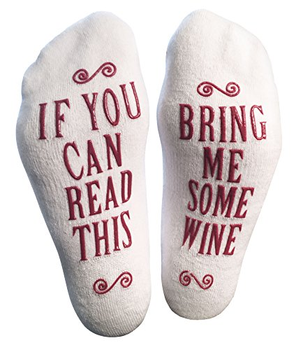 """Luxury Combed Cotton """"Bring Me Some Wine"""" Socks - Perfect Hostess or Housewarming Gift Idea, Birthday Present, or Mother's Day Gift for a Wine Enthusiast"""
