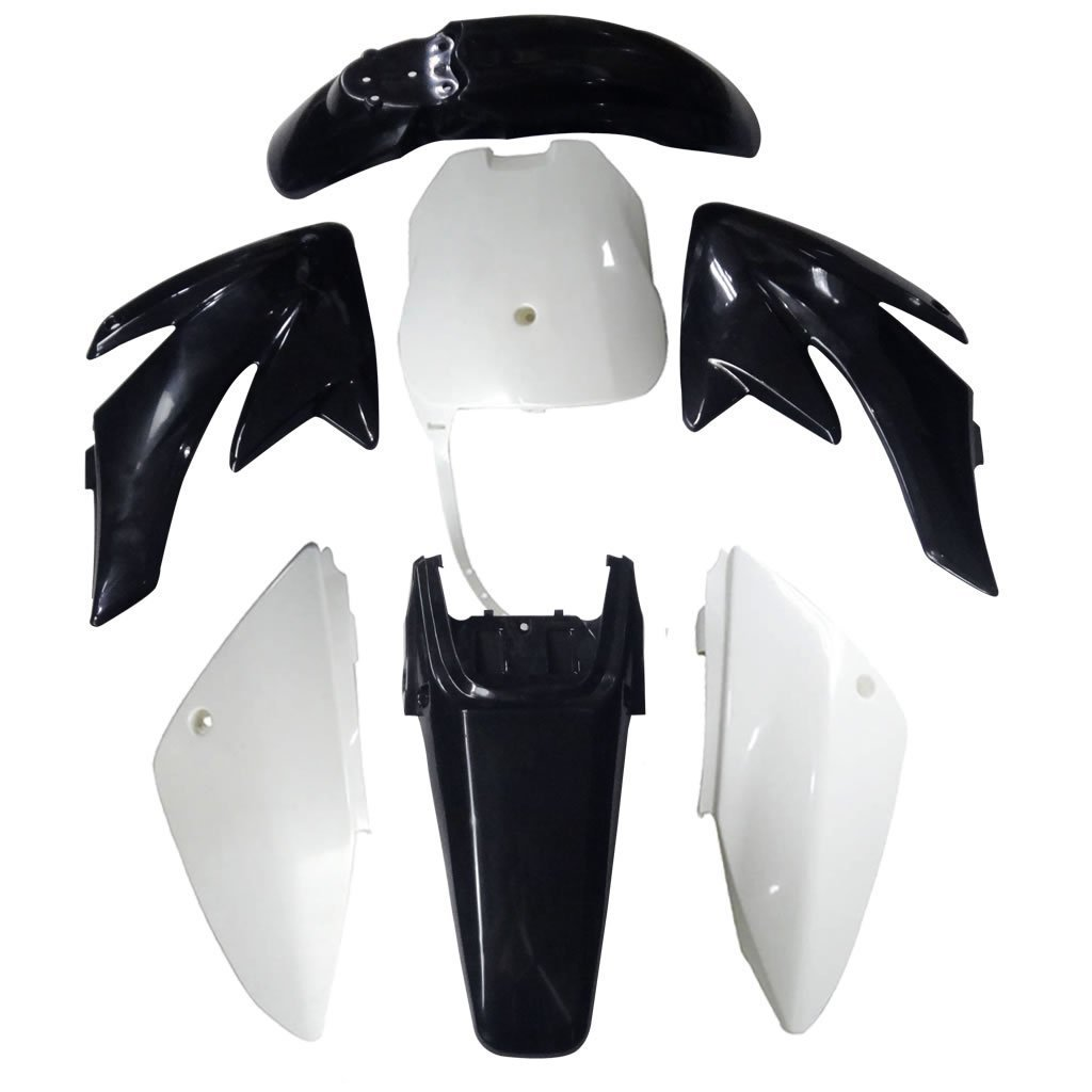 TDPRO Plastic Fairing Kit Fender Parts and Seat for CRF70 CRF 70 Dirt Pit Bike 4Black+3White