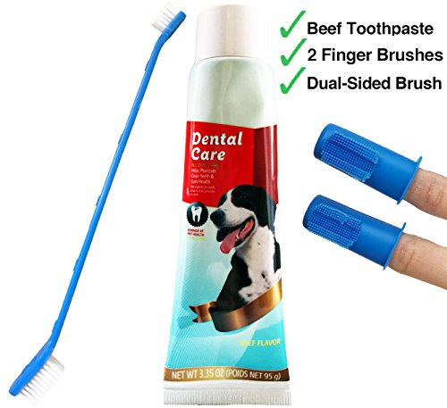 Toothpaste Dog Cet (Complete Dog Teeth Cleaning Set with 3.3 ounces Beef Flavored CET Toothpaste for Dogs,  This Dog Toothbrush Set Includes 2 Puppy Finger Toothbrushes and Dual-Headed Toothbrush for Large and Small Dogs)