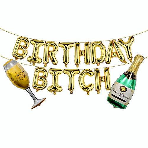 Birthday Bitch Balloons, Champagne Bottle Goblet Balloons- Birthday Party Banner 16 inch Gold Letter Foil Balloons