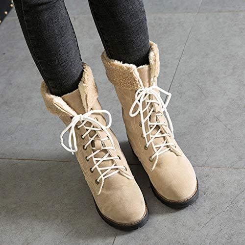 Donna ✿ A Alto Punta Pelle Quadrato Da Scarpe Stivali In Neve Beige Rotonda Moda Vovotrade Scamosciata Tacco qOqrwTEC