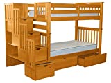 Bedz King Tall Stairway Bunk Beds Twin over Twin with 4 Drawers in the Steps and 2 Under Bed Drawers, Honey