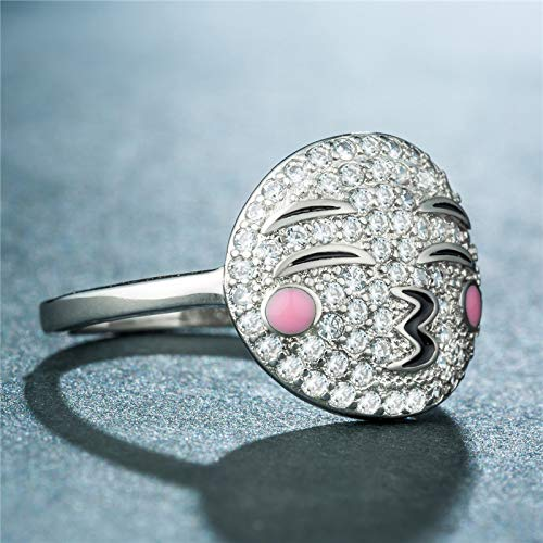 Excow Jewelry Cute Emoticon Rings Smile Cartoon Originality Band CZ Simulated Diamond Stackable Pink Ring