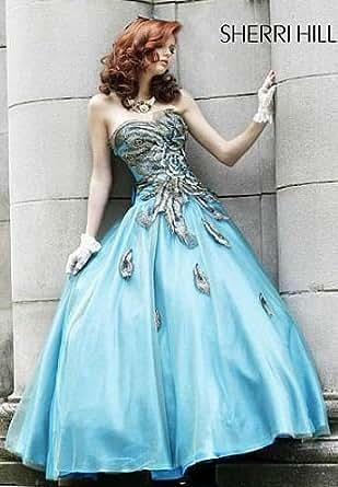 Amazon.com: Sherri Hill Peacock Metallic Embroidered Prom