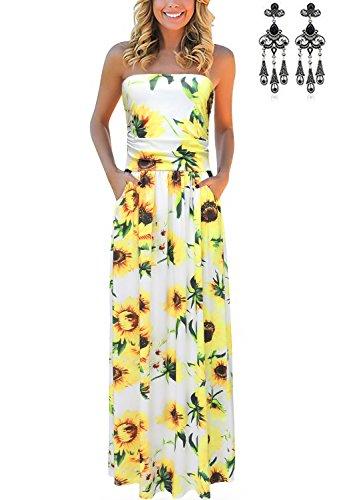 carinacoco Femmes Bohme Longue Maxi Robe de Plage Robes Bustier t Floral Imprim sans Bretelle Robe Couleur 15