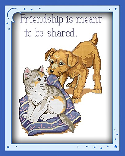 Happy Forever Cross Stitch, animals dog and cat, friendship is meant to be shared