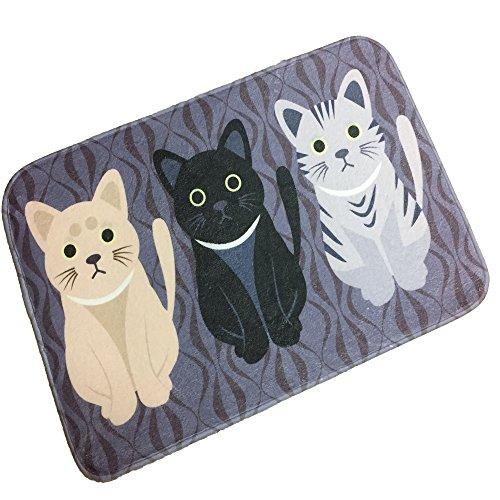 Adasmile Cat Floor Mat Cartoon Area Rug Memory Foam Non Slip Decorative Small Mats