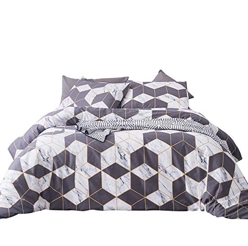 SUSYBAO 3 Pieces Duvet Cover Set 100% Natural Cotton King Size White Marble Print Bedding with Zipper Ties 1 Gray Geometric Pattern Duvet Cover 2 Pillow Cases Luxury Quality Soft ()