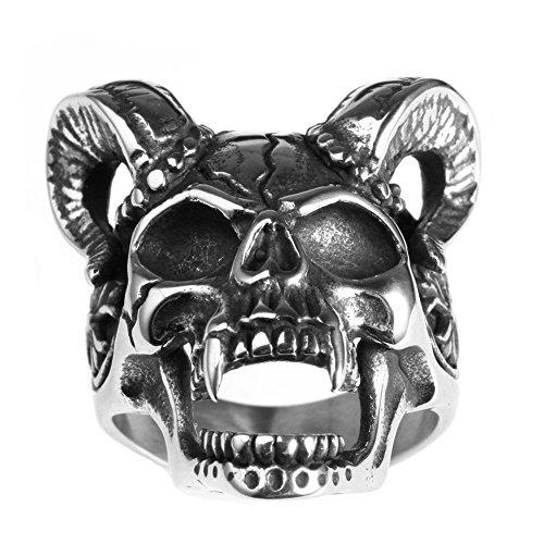PAURO Men's Stainless Steel Vintage Skull Goat Horn Ring Size 9 (Mens Skull Rings)