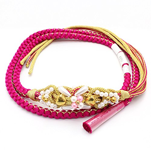 ブレンド城減衰きもの京香 帯締め 成人式 振袖用 ピンク 金 パール ゴールド ハート おびじめ 着物 和装
