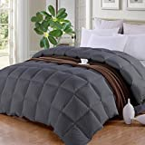Alternative Comforter - Queen/Full❤Soft Down Alternative Quilted Comforter Summer Cooling Duvet Insert with Corner Ties❤Fluffy Lightweight for All Season, Hypoallergenic Reversible Hotel Collection❤Dark Grey,88 by 88 inch