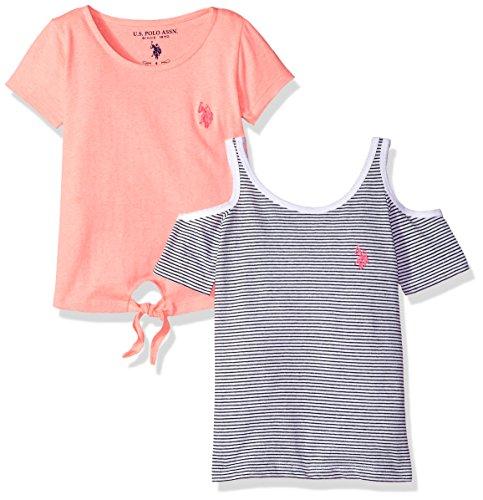 - U.S. Polo Assn. Girls' Little T Tank Shirt Pack, Black/White Stripe neon Coral Jersey Multi, 6X