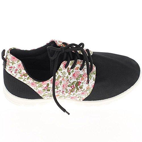 Fiori neri donne e motivi con spesse suole di scarpe piane