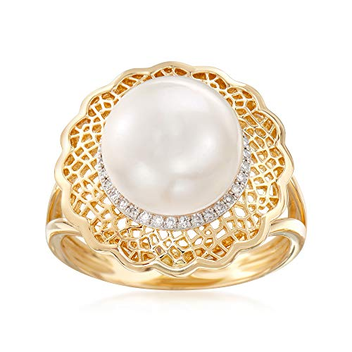 Ross-Simons 10-10.5mm Cultured Pearl Ring With .10 ct. t.w. Diamonds and Filigree in 14kt Yellow Gold ()