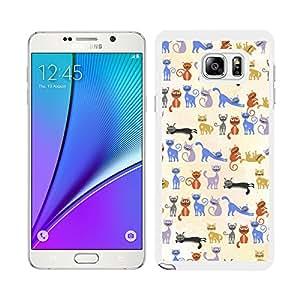 Funda carcasa para Samsung Galaxy Note 5 estampado gato gatos borde blanco