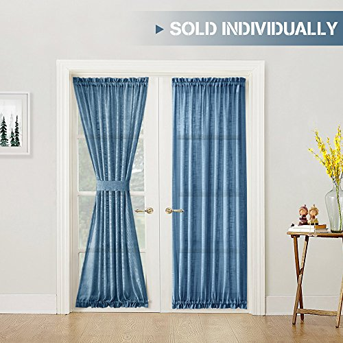 French Door Curtains Linen Textured Sheer French Door Curtain Panels 72 inch Length French Door Panel with Bonus Tieback, Navy Blue, 1 Panel (1 Rod 1 2 Curtain Inch)