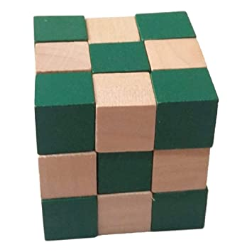 WORBAX Hand Crafted Wooden Channapatna Wooden Snake Cube Toy in Green & Beige Color, Enhance Your Brain Power\Enhance Focus or Concentration
