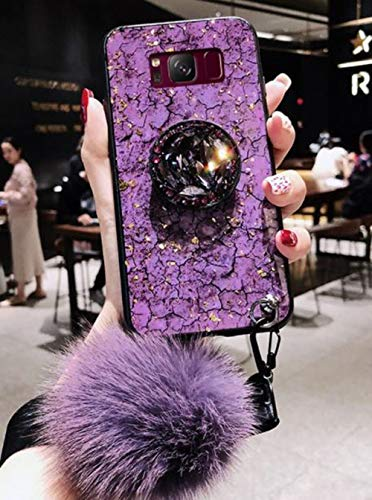 Lozeguyc Galaxy Note 8 Bling Marble Kickstand Case,Galaxy Note 8 Luxury Soft Hard Back Case Shiny Glass Shockproof Ring Stand Cover for Samsung Galaxy Note 8-Purple