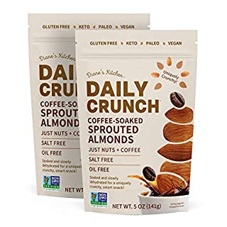 Coffee-Soaked Sprouted Almonds – Daily Crunch – Keto, Vegan, Paleo, Non-GMO, Oil-Free, Salt Free – Soaked, Sprouted & Dehydrated -- 5 oz (2 pack)