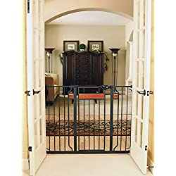 Gate for Dog, Cats - Home Accents Extra Tall Walk-Through Gate - Dog Doors - Cat Doors, Gates & Ramps, Stands 37-inches Tall and expands to fit Openings 29-43 inches Wide, Color : Black