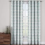 Jacqueline Mist, Top Grommet Jacquard Window Curtain Panel, Set of 2 Panels, 108×120 Inches Pair, by Royal Hotel
