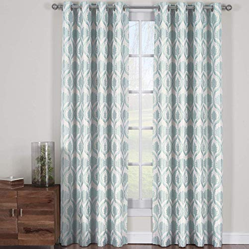 Jacqueline Mist, Top Grommet Jacquard Window Curtain Panel, Set of 2 Panels, 108x120 Inches Pair, by Royal Hotel