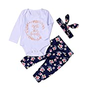 Bindun Infant Newborn Baby Girls Romper Outfit Pants Set with Long Sleeve+Pants+Headband 6M