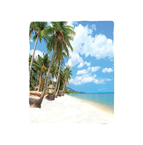 VROSELV Custom Blanket Ocean Collection Tropical Beach View with Exotic Palm and Clean Sand by the Sea Hawaii Style Paradise Bedroom Living Room Dorm Multi by VROSELV