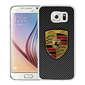 Fashionable And Unique Designed Cover Case With Porsche logo 4 White For Samsung Galaxy S6 Phone Case