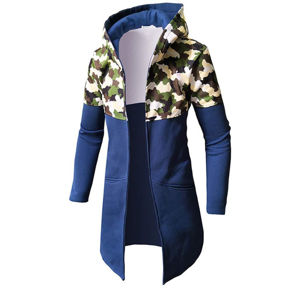 KAOKAOO Mens Trench Coat with Hood Winter Camouflage Zipper Jacket Overcoat