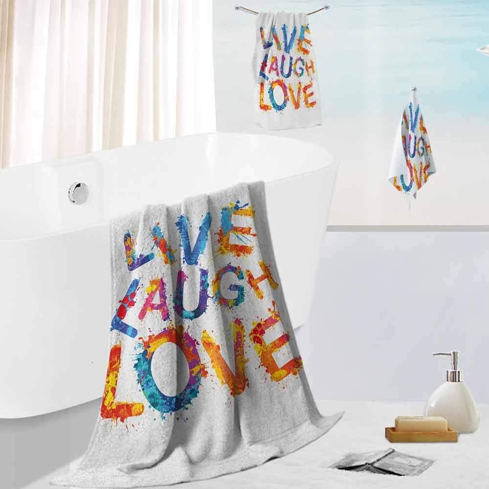 Live Laugh Love,Luxury Bathroom 3-Piece Towel Watercolor Splash Paint Art Style Letters Joyous Delirious Grunge Quotation 3-Piece Bath Towels Hand Towel and Washcloth Multicolor