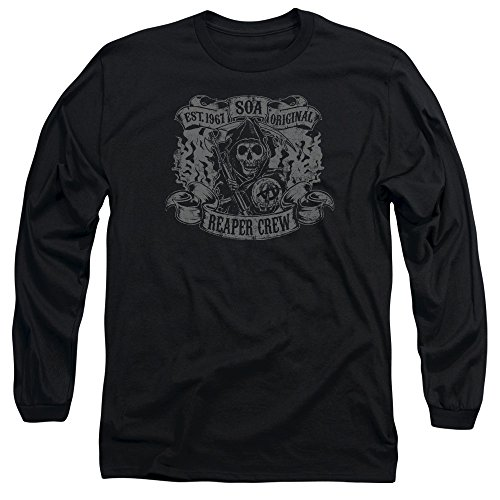 Sons Of Anarchy Original Reaper Crew Mens Long Sleeve Shirt Black SM