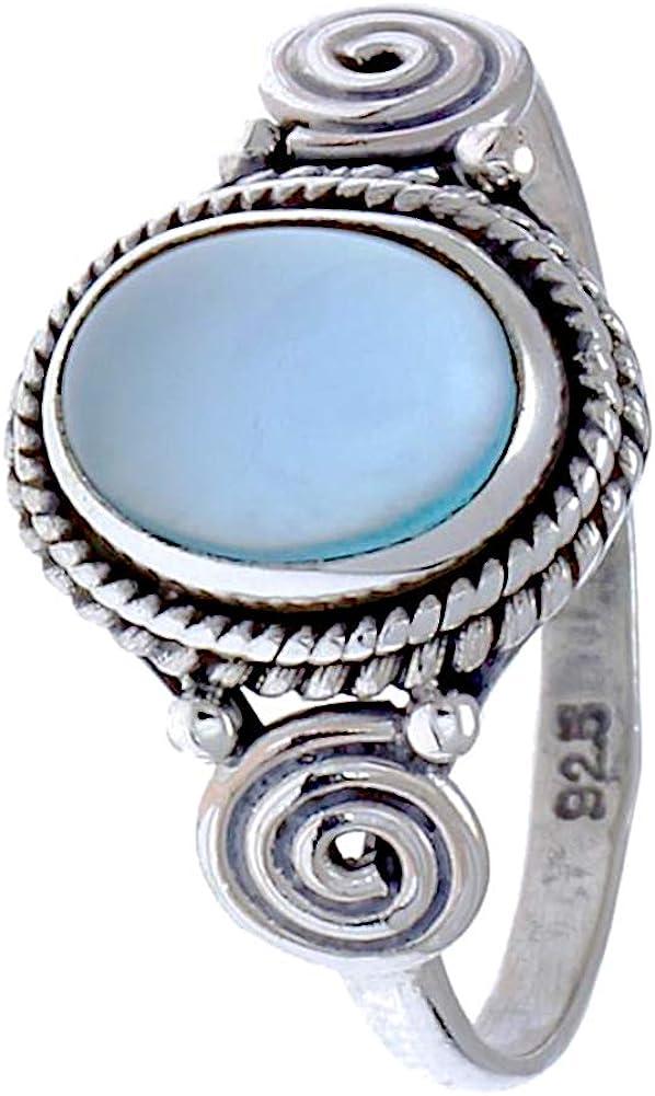 CHIC de Net Plata Anillos chalzedon Cuerdas espirales círculos ovalada azul puntos 925 anillos de plata de ley 52 (16.6): Chic-Net: Amazon.es: Joyería