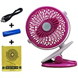 USB Fan Mini Clip On Desk Fans with Rechargeable Battery Powered for Baby Stroller, Metal Design and 4.9ft USB Cable, Enhanced Airflow, Lower Noise (Pink)